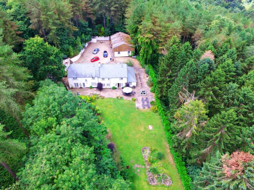 aerial view spring cottage